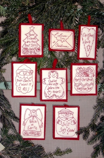 Picture of Holiday Words Hand Embroidery Ornament Collection