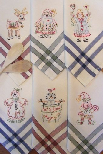 Picture of Christmas Hand Embroidery Tea Towels