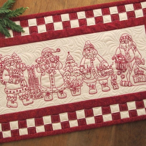 Picture of Santa Quartet! Table Runner - Hand Embroidery