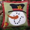 Top Hat Snowman Wool Applique Pillow