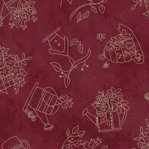 Picture of Tossed Stitches - Red Cotton Fabric