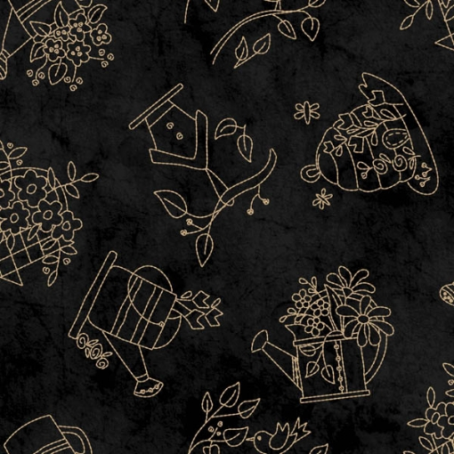 Picture of Tossed Stitches Black Cotton Fabric