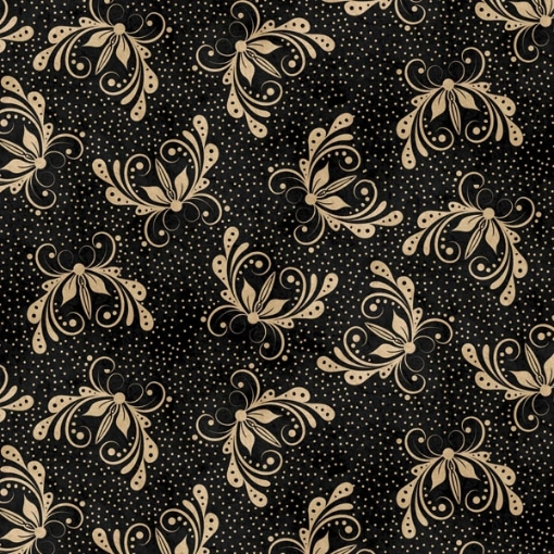 Butterfly on Black Cotton Fabric