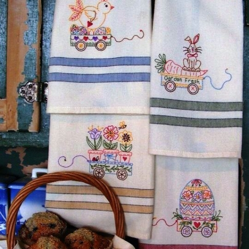 Picture of Easter Tea Towels - Hand Embroidery