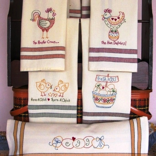 Picture of The Hen Delivers Machine Embroidery Tea Towels