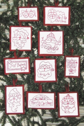 Picture of Santa RedWork Ornaments - Set of 10 - Machine Embroidery