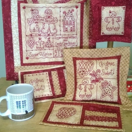 Picture of Gingerbread Wishes Machine Embroidery Redwork