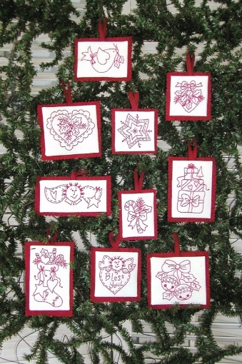 Picture of Traditional RedWork Machine Embroidered Ornament Set of 10