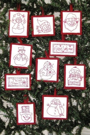 Picture of Snowmen RedWork Ornament Collection Machine Embroidery