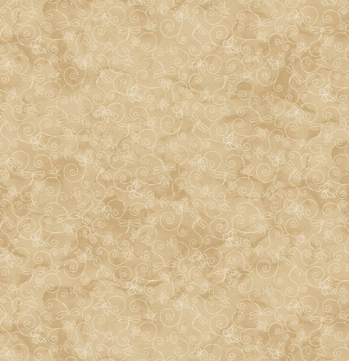 Picture of Things in Flight - Tan/Natural Cotton Fabric