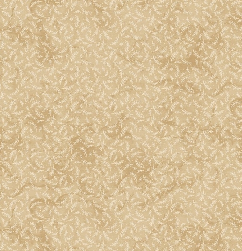 Picture of Stitched Sprigs - Tan Cotton Fabric