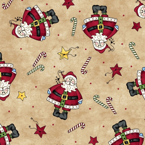 Picture of Tiny Santa - Tea-Dyed Cotton Fabric