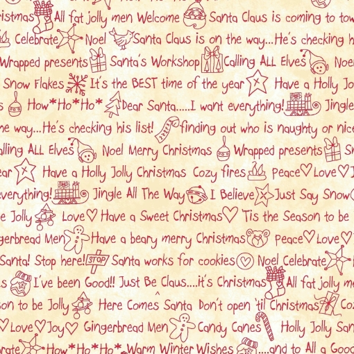 Picture of Just Be Claus Words - Red on Natural Cotton Fabric