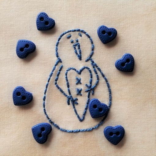 Blue Mini Heart Buttons