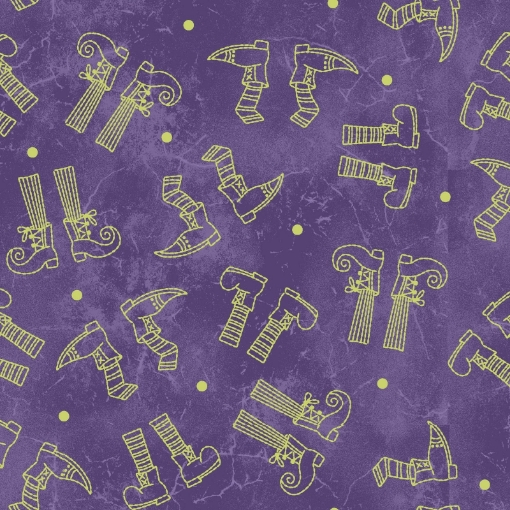 Picture of Halloweenie Witchy Legs - Purple & Green Cotton Fabric
