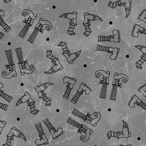 Picture of Halloweenie Witchy Legs - Gray & Black Cotton Fabric