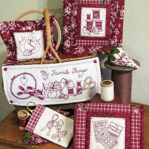 Picture of My Favorite Things RedWork - Machine Embroidery