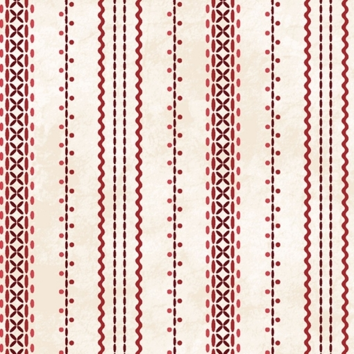 Picture of Stitched Ticking - Natural/Red