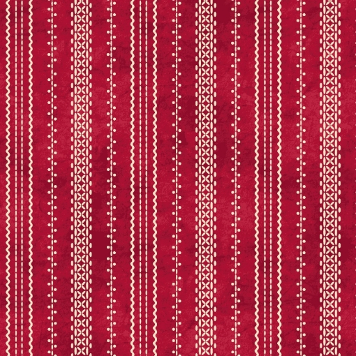 Picture of Stitched Ticking - Red /Natural