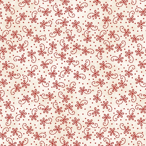 Picture of Lazy Daisy Twirl - Natural/Red Cotton Fabric