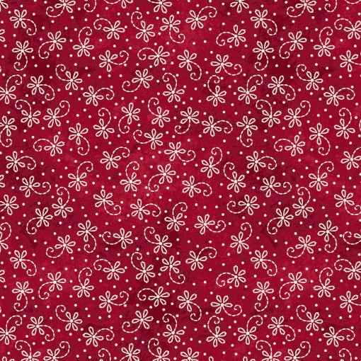 Picture of Lazy Daisy Twirl - Red/Natural Cotton Fabric