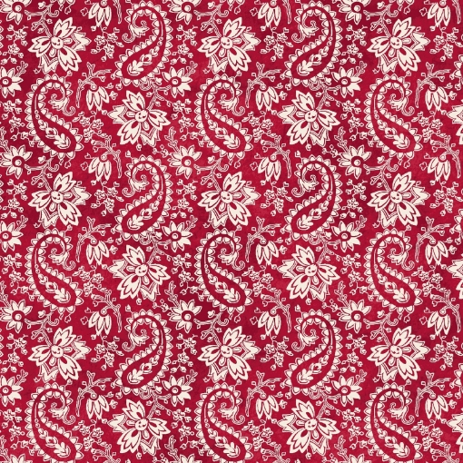 Picture of Paisley - Red/Natural Cotton Fabric