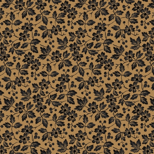 Picture of Berry Blossoms - Black Cotton Fabric