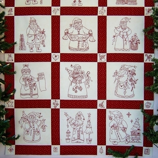 """Picture of """"Here Comes Santa"""" Red Dots Fabric Packet"""