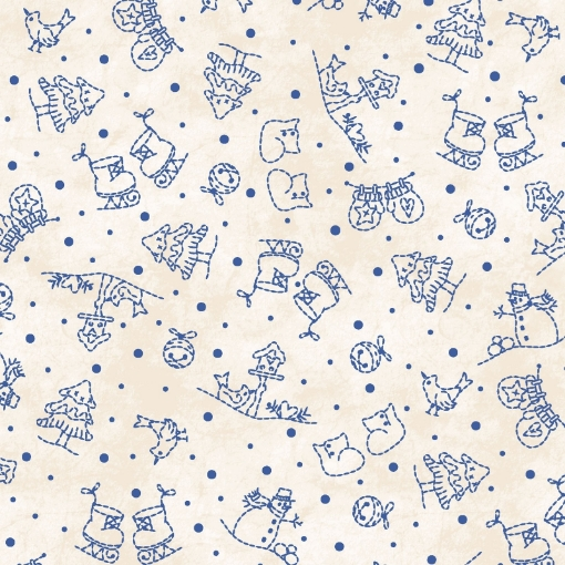 Picture of Roly-Poly Mini Motifs - Natural Cotton Fabric