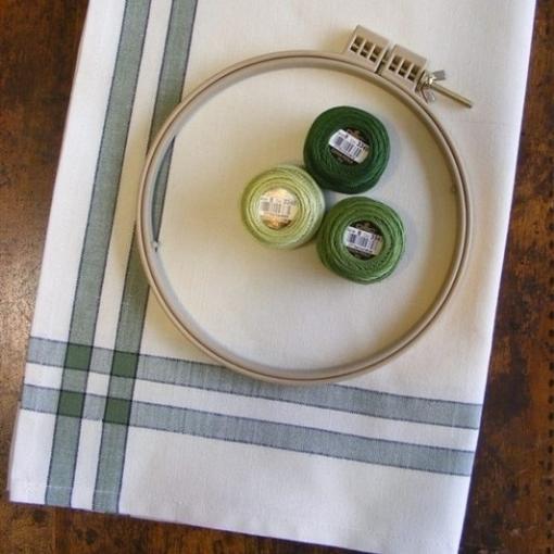 Picture of Sage Green Stripe Tea Towel