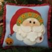 Christmas Santa Wool Applique Pillow