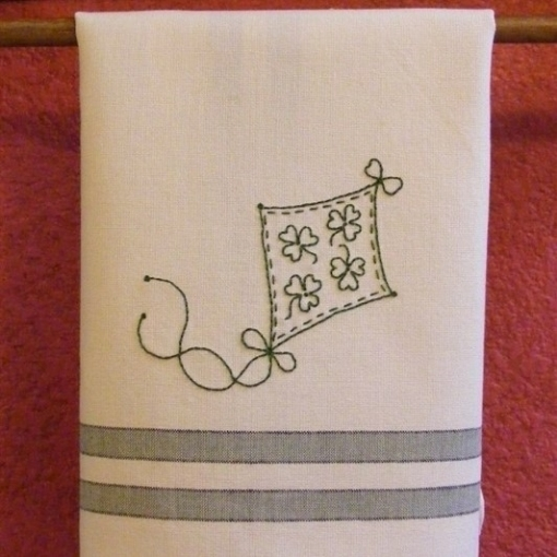 Shamrock Flying Kite Hand Embroidery Pattern