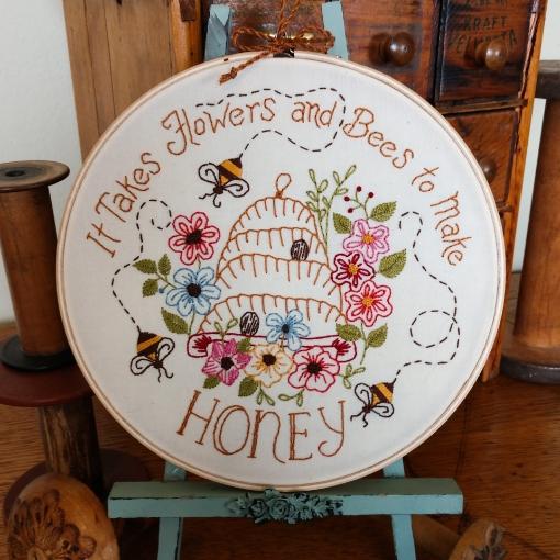Flowers, Bees and Honey Hoop Kit