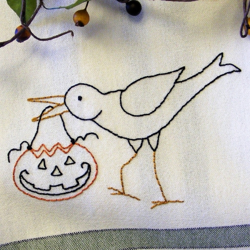 Trick or Treat Crow Embroidery Pattern
