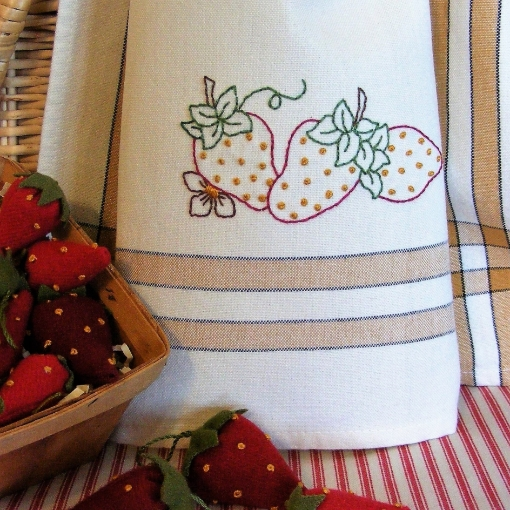 Strawberry Tyme Tea Towel Embroidery Pattern