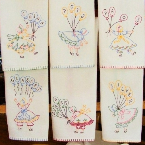 Kitchen Helpers Tea Towels - Hand Embroidery Pattern