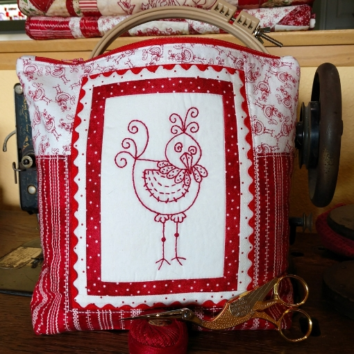 Birdie Sewing Project Bag for Hand Embroidery