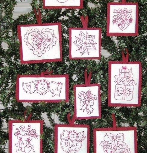 Traditional Redwork Christmas Ornaments Pattern