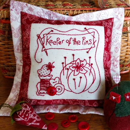 Picture of Redwork Pin Cushion Club - Machine Embroidery - Pattern 08 - 1522-ME