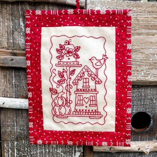 Garden Bird Houses Hand Embroidery Pattern
