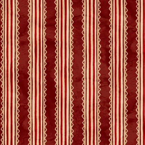 Trimmed Stripe - Red/Tea-Dyed Cotton Fabric
