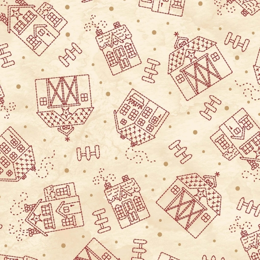 Picture of Sheltering Tree - Houses - Tan/Red Cotton Fabric