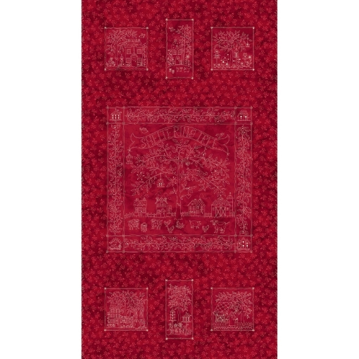 Picture of Sheltering Tree - Panel - RED/CREAM Cotton Fabric