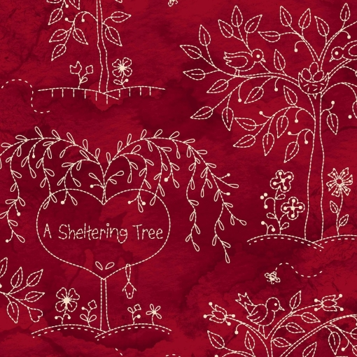 Picture of Sheltering Tree - Sheltering Trees- Red/Natural Cotton Fabric