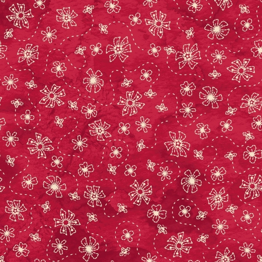 Picture of Sheltering Tree- Flowers & Bees - Red /Natural Cotton Fabric