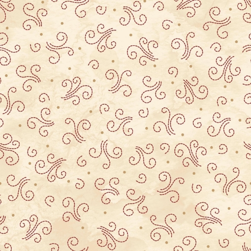 Picture of Sheltering Tree- Smoke Swirls-Tan/ Red Cotton Fabric