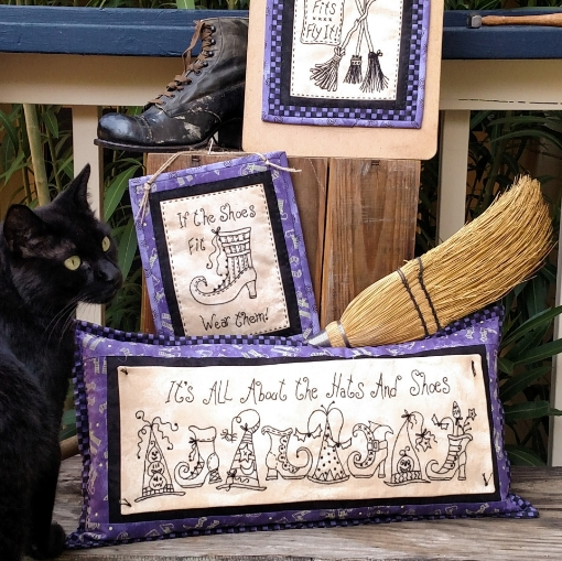 Hats, Shoes and Brooms Machine Embroidery Pattern