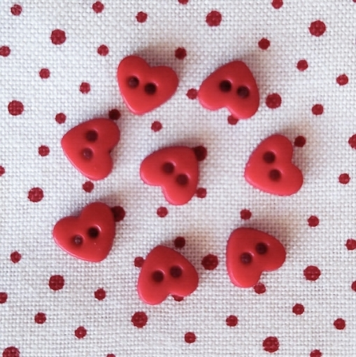 """Picture of Tiny Red 1/4"""" Heart Buttons"""
