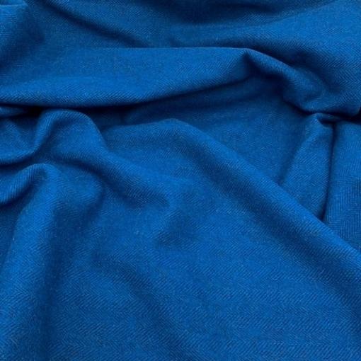 Bora Bora - Textured Blue Herringbone Wool