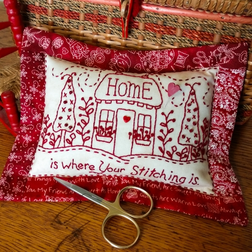 Home For Stitching Pin Cushion - Hand Embroidery Pattern
